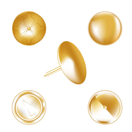 thumbtack on a white background, gold color in several variants