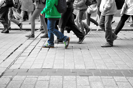 walk colored different characters in the gray crowd