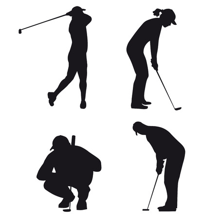 male and female silhouettes of figures in golf Çizim