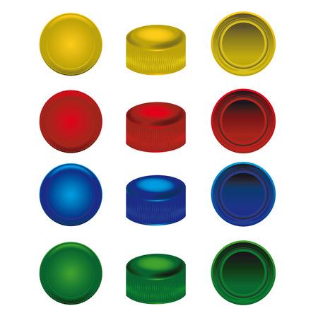 plastico pet: cuatro colores de la tapa de plástico de botellas de PET Vectores