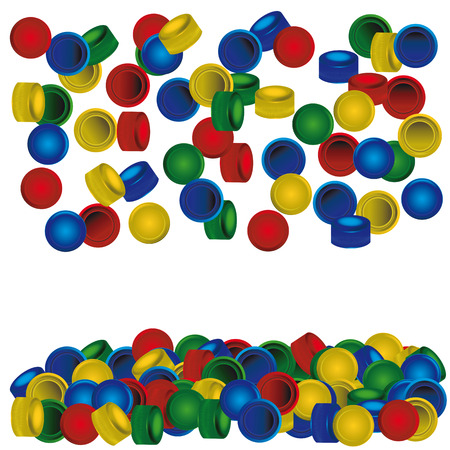 pile of plastic PET bottle caps on white background