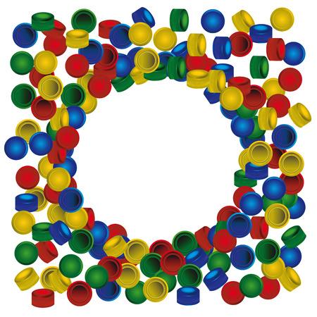 círculo de tapas de botellas PET de plástico en el fondo blanco
