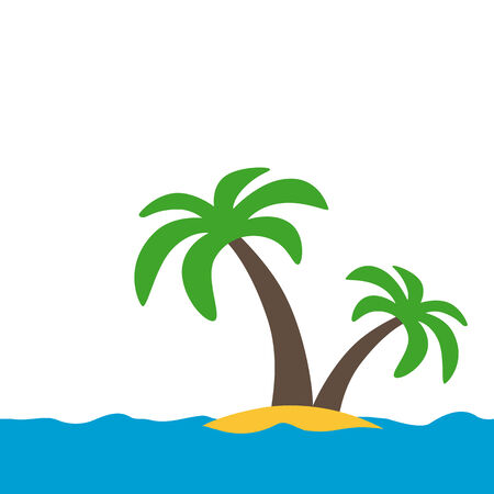 simple symbol of a tropical island with white background Vector
