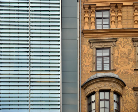 shoe strings: the contrast between the new and old buildings