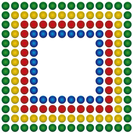 circle of plastic PET bottle caps on white background