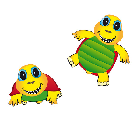 cheerful color animated turtle with a smile