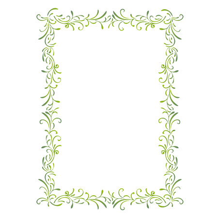 Simple green frame, the portrait of leaves and spirals