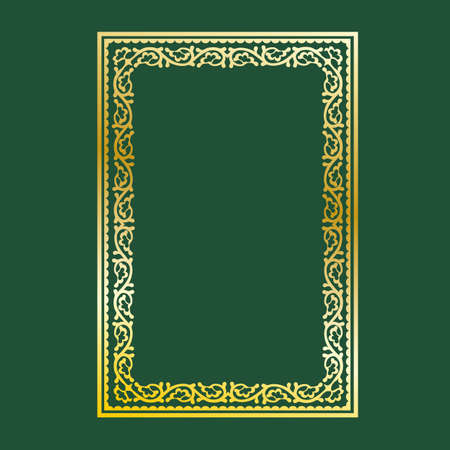 Gold decorative frame on a green background