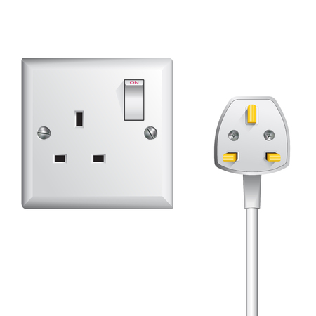uk: electrical outlet in the UK, power socket and cable