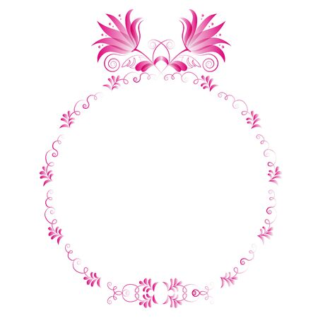 circular frame on a white background, floral motif