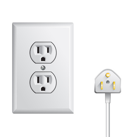 electric outlet: electrical outlet in the USA, power socket Illustration