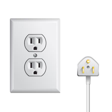 Toma de corriente eléctrica en los EE.UU., toma de corriente Foto de archivo - 46007386