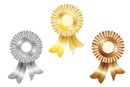 ribbons and medals for the winners, gold, silver and bronze, isolated on white background