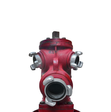 Red hydrant shaped head on a white background Stock Photo