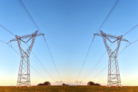 pylons carrying high voltage electricity over long distances
