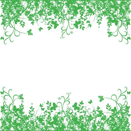 Spring ornaments, grass and butterflies on a white background, flat design