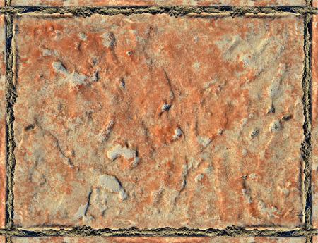 Rough surface orange ceramic tiles, background top view Stock Photo