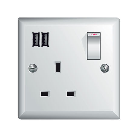 Electrical outlet in the UK, power socket with USB - Universal Serial Bus