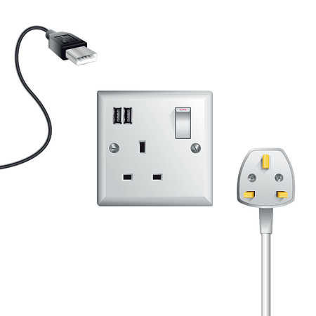 Electrical outlet in the UK, power socket with USB - Universal Serial Bus Reklamní fotografie - 63139538