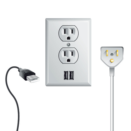 receptacle: Electrical outlet in the USA, power socket with USB