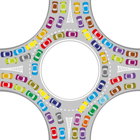 traffic jam at the roundabout, color cars
