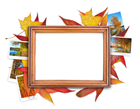 Frame with autumn theme on the white background