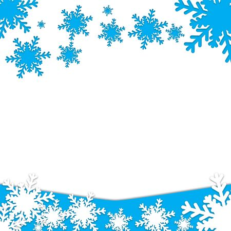 Christmas postcard with snowflakes symbols on a white background Illustration
