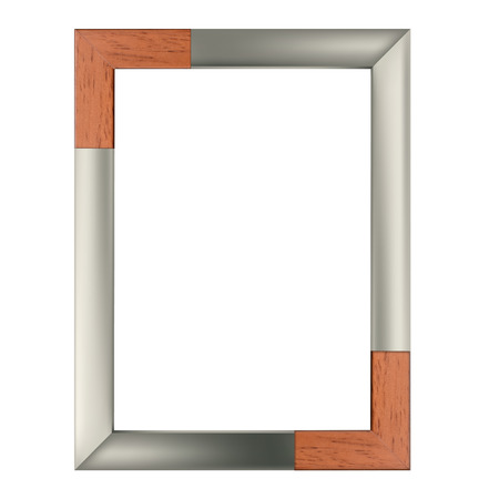 Modern simple frame made of wood and steel for portrait pictures Reklamní fotografie - 109586166