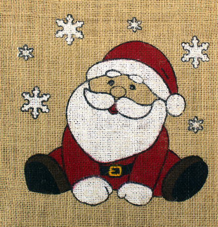 Santa Claus drawn on canvas with snowflakes