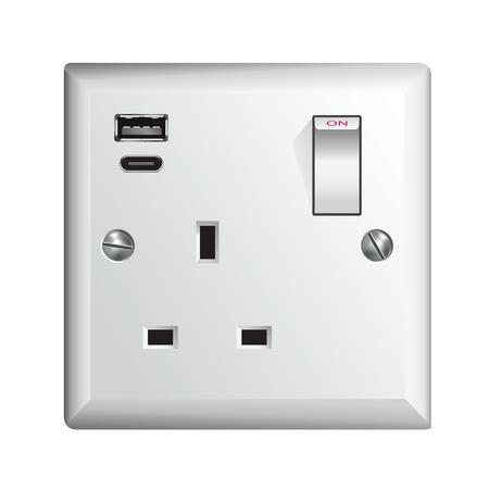 Prise électrique au Royaume-Uni, prise de courant avec USB et USB-C - Universal Serial Bus Vecteurs