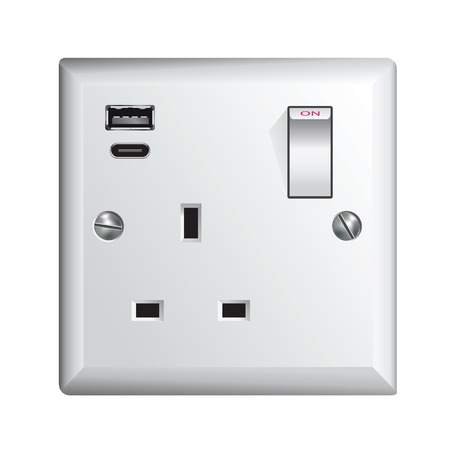 Electrical outlet in the UK, power socket with USB and USB-C - Universal Serial Bus Illustration