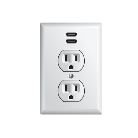 Electrical outlet in the USA, power socket with USB-C Illustration