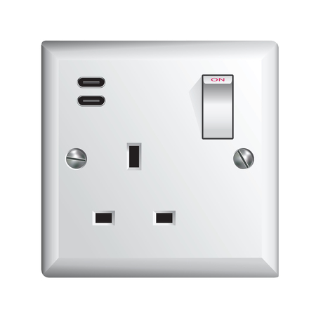 Electrical outlet in the UK, power socket with USB-C - Universal Serial Bus