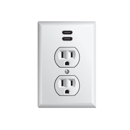 Electrical outlet in the USA, power socket with USB-C Reklamní fotografie - 124352519