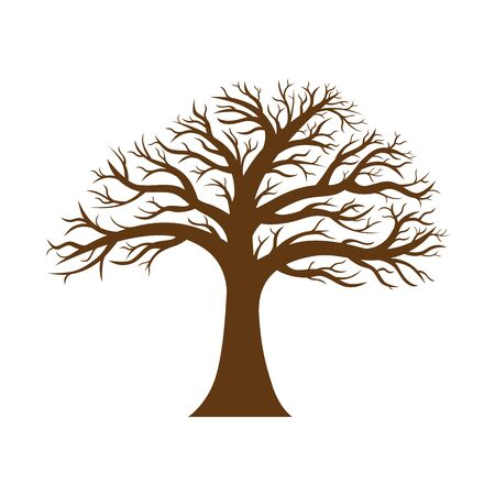 Vector image of a tree silhouette without leaves with bare branches