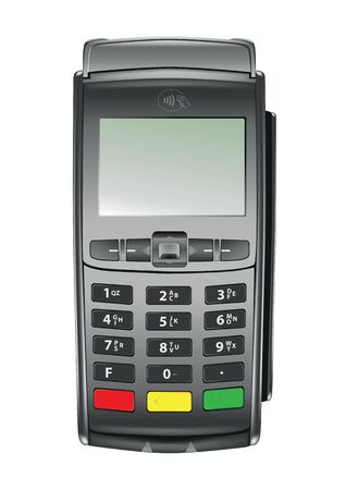 Payment terminal for contactless and cashless payment, detailed vector illustration