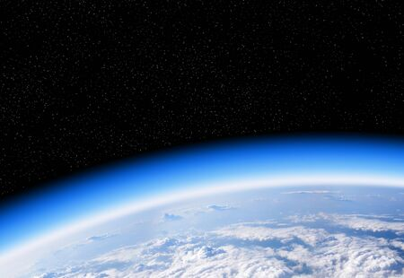 Blick auf die Erde aus dem Weltraum, dem blauen Planeten und dem tiefschwarzen Weltraum