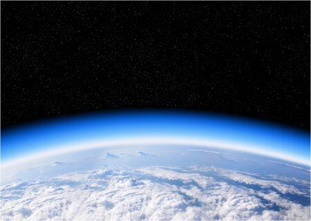 Blick auf die Erde aus dem Weltraum, dem blauen Planeten und dem tiefschwarzen Weltraum Standard-Bild