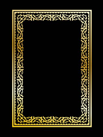 Ornate classy decorative golden frame on black background Ilustração