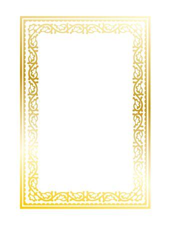 Ornate decorative golden frame on white background