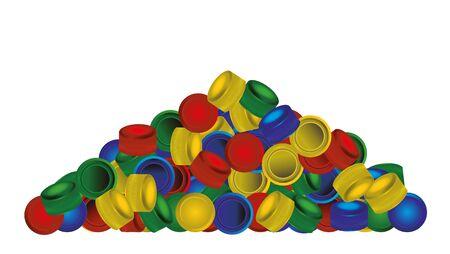 pile of plastic PET bottle caps on white background