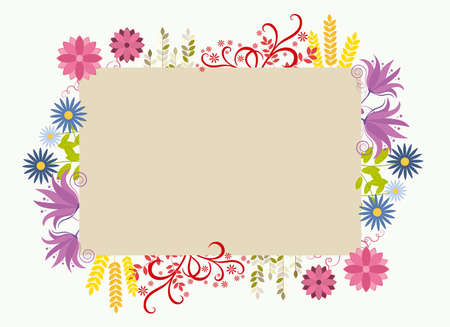 Floral frame with colorful flowers around, vector illustration