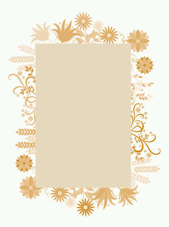 Floral frame with flowers in sepia yellow around, vector illustration