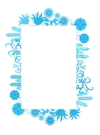 Floral frame with flowers in blue around, vector illustration