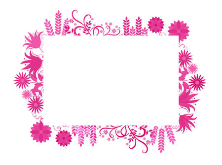 Floral frame with flowers in pink purple around, vector illustration