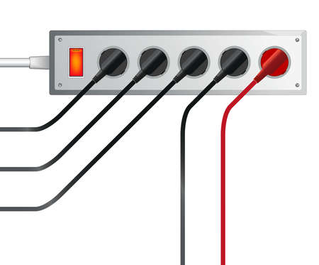 Electric extension cable, different electrical energy in the cable Illustration