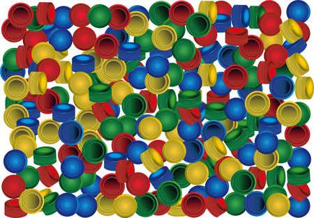 Plastic PET bottle caps on white