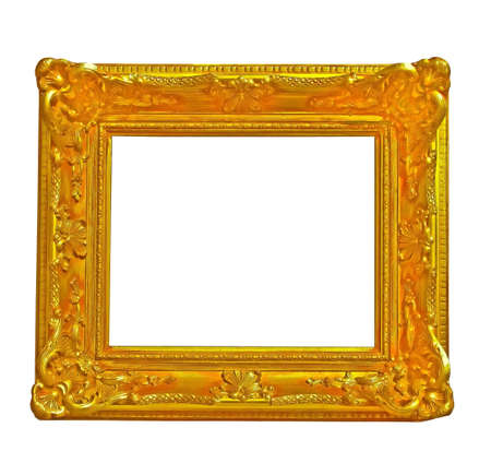 isolated gold frame in baroque style as decoration Stock Photo