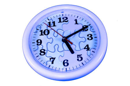 blue clock wtih abstract puzzle design on white background as sample of my isolated images