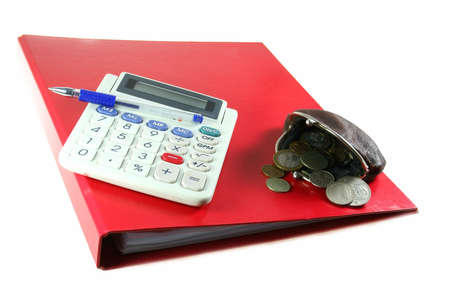 calculator, money and other equipment as symbol for buisness and finance, isolated on white background
